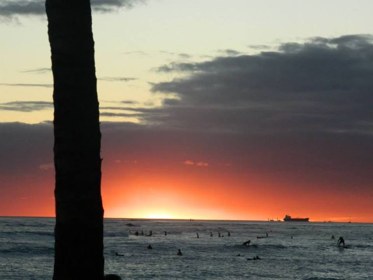 Hawaiian Sunset Waikiki Beach