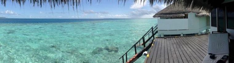maldives water bungalow deck