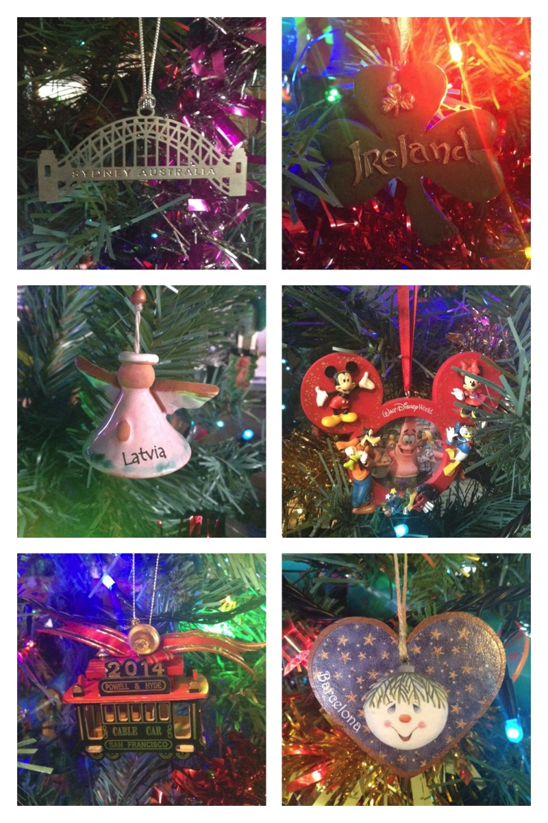 Travel themed Christmas tree decorations