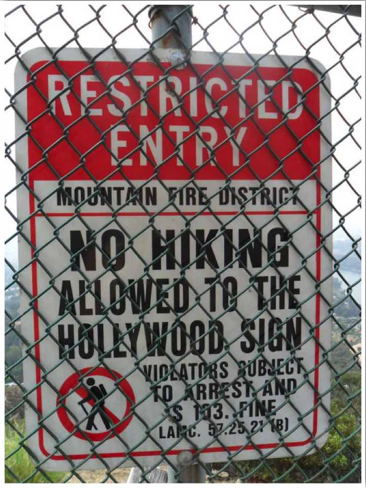 Hollywood Sign Hike Restricted Entry