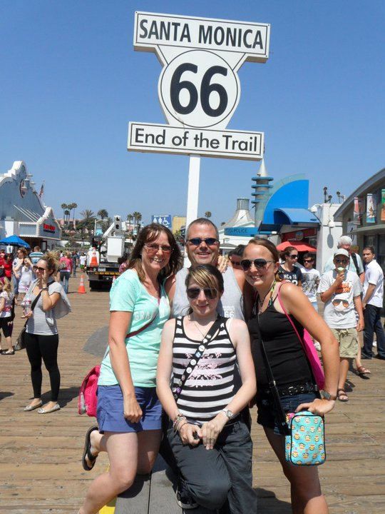 Route 66 End of the Trail sign Santa Monica Pier LA