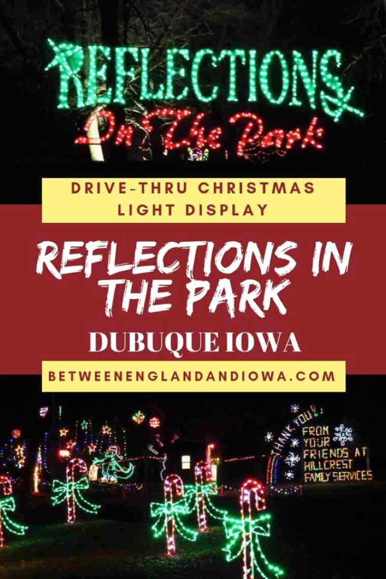 Reflections in the Park Dubuque. A drive through Christmas light experience in Iowa USA