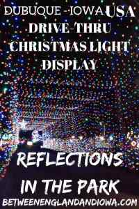 Reflections in the Park Dubuque. Drive through christmas light display in Iowa USA