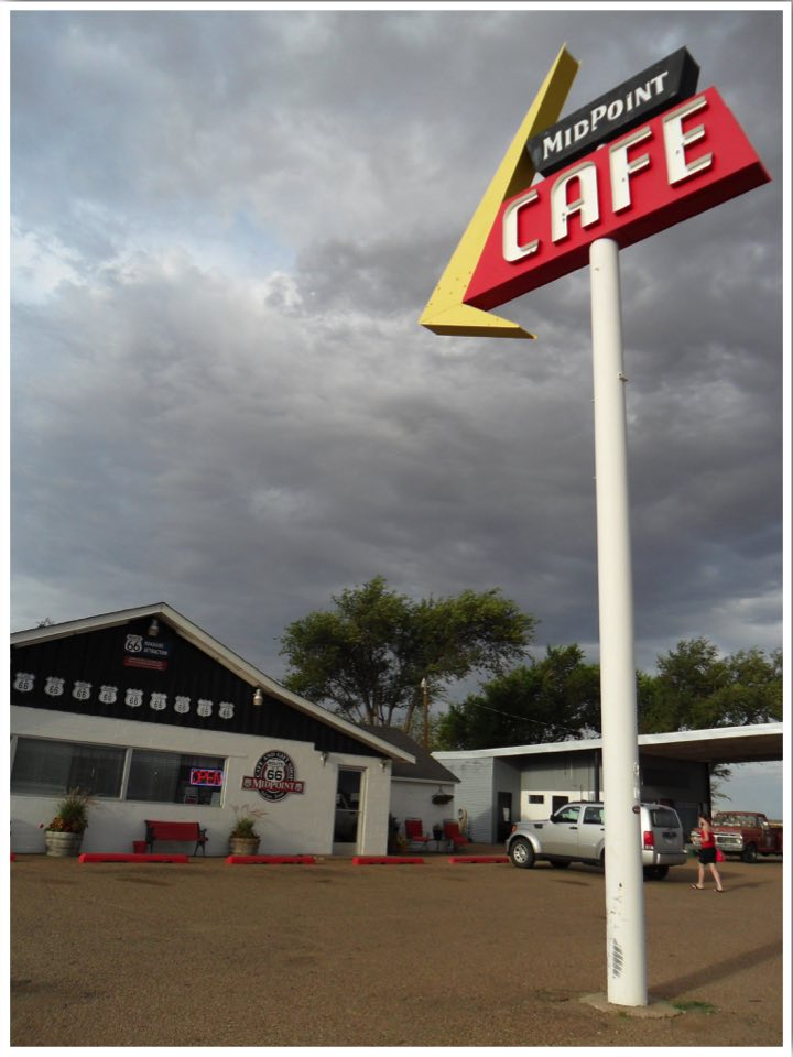 Route 66 Midpoint Cafe Adrian Texas. Half way point on Route 66. 1139 miles from Chicago and 1139 miles from Los Angeles