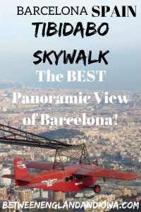 Tibidabo Skywalk on Mount Tibidabo. The BEST panoramic view of Barcelona Spain!