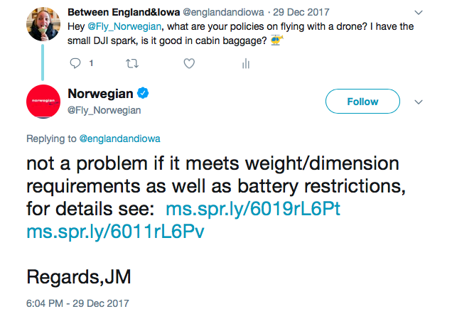 Norwegian Drone Tweet