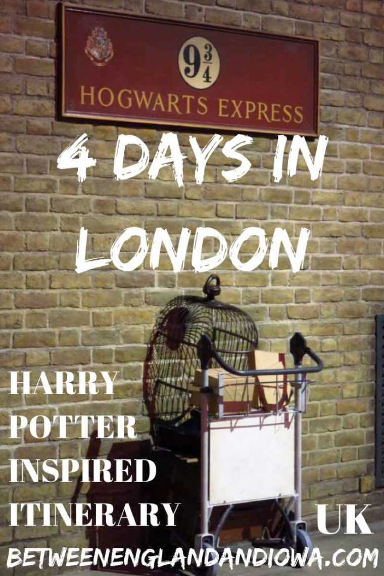 London Itinerary 4 days. A Harry Potter inspired guide for 4 days in London.  Harry Potter things to do in London