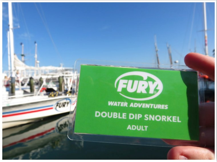 Snorkelling Key West Fury boarding pass