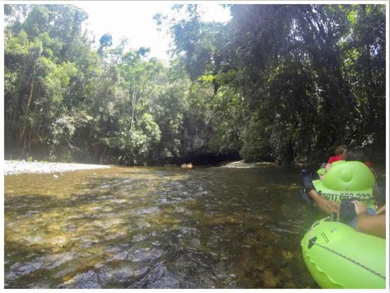 Belize cave tubing cave exit