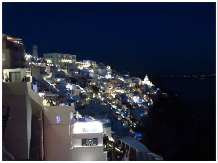 Fira at night in Santorini Greece