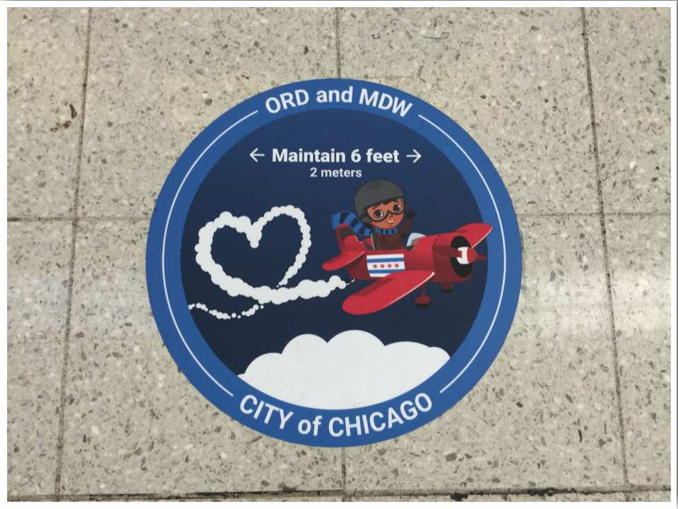 Chicago ORD maintain 6 feet floor sticker