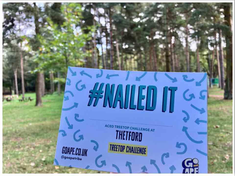 Go Ape Thetford Treetop Challenge Certificate